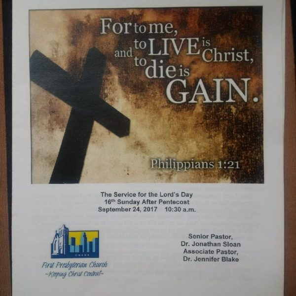 September 24 2017 Sermon bulletin cover Life is Christ